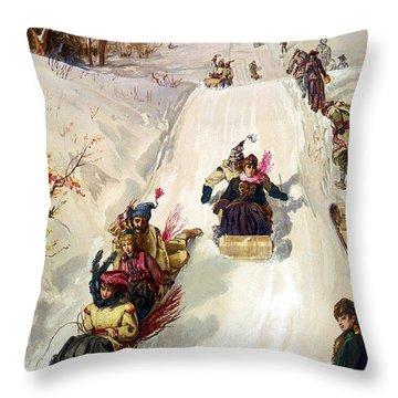 Tobogganing 1886 Throw Pillow by HY Sandham