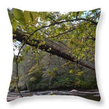 Toccoa River Swinging Bridge Throw Pillow