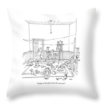 Today Is The Day I Start The New Me! Throw Pillow