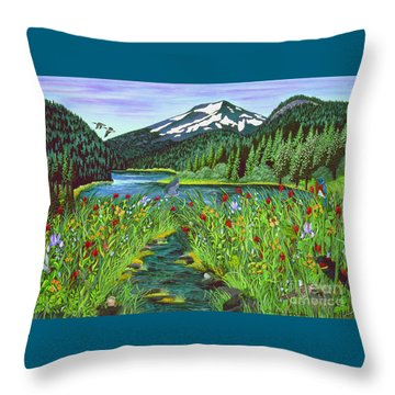 Todd Lake Mt. Bachelor Throw Pillow by Jennifer Lake