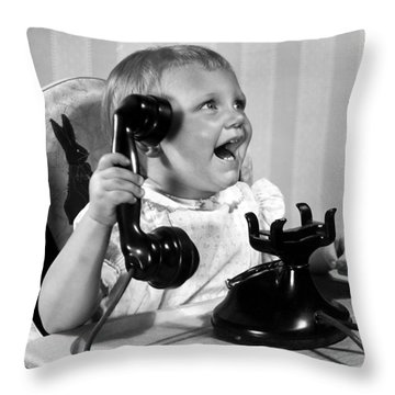 Toddler With Telephone Throw Pillow by Underwood Archives