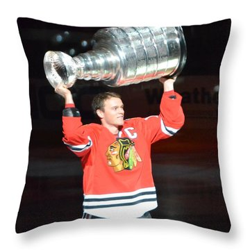 Toews Holds The Stanley Cup Throw Pillow