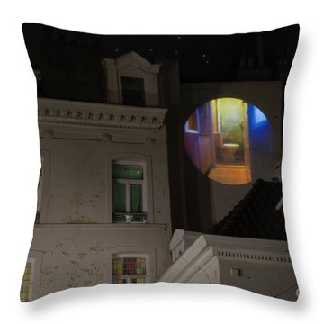 Toilet In Technicolor Throw Pillow by Juli Scalzi