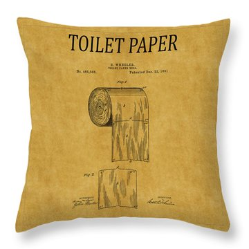 Toilet Paper Patent 1 Throw Pillow