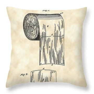 Toilet Paper Roll Patent 1891 - Vintage Throw Pillow by Stephen Younts