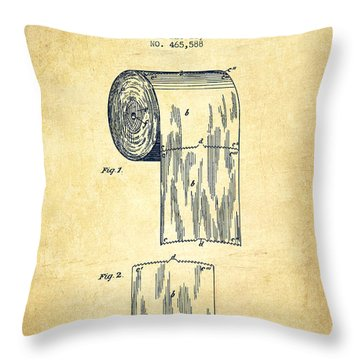 Toilet Paper Roll Patent Drawing From 1891 - Vintage Throw Pillow