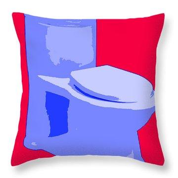 Toilette In Blue Throw Pillow