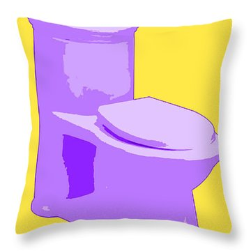 Toilette In Purple Throw Pillow