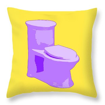 Toilette In Purple Throw Pillow