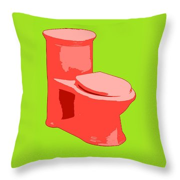 Toilette In Red Throw Pillow