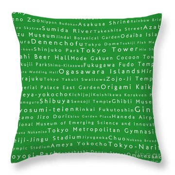 Tokyo In Words Green Throw Pillow by Sabine Jacobs