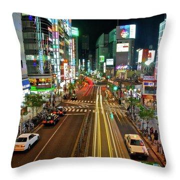 Tokyo Neon Streaks Throw Pillow