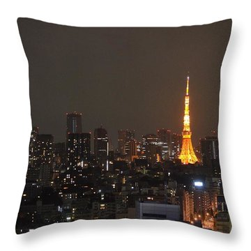 Tokyo Skyline At Night With Tokyo Tower Throw Pillow by Jeff at JSJ Photography