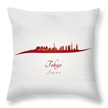 Tokyo Skyline In Red Throw Pillow by Pablo Romero