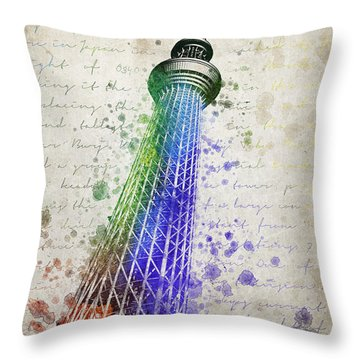 Tokyo Skytree Throw Pillow by Aged Pixel
