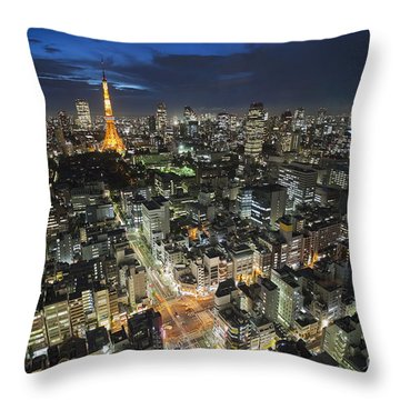 Throw Pillow featuring the photograph Tokyo Tower At Night by Bryan Mullennix
