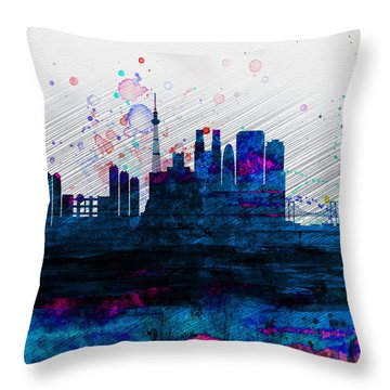 Tokyo Watercolor Skyline 2 Throw Pillow by Naxart Studio