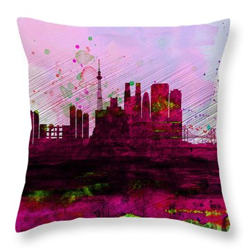 Tokyo Watercolor Skyline Throw Pillow by Naxart Studio