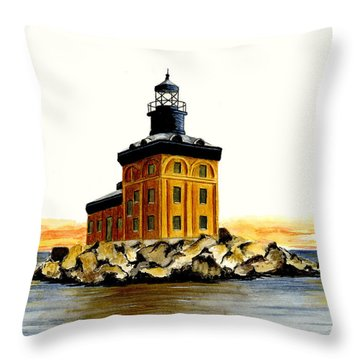 Toledo Harbor Lighthouse Throw Pillow by Michael Vigliotti