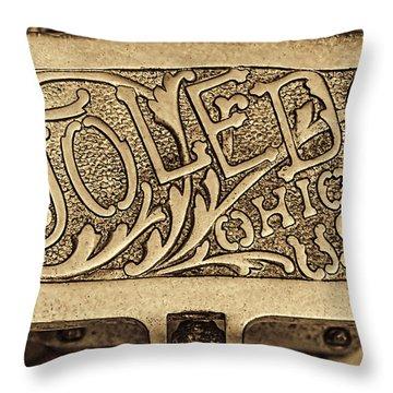 Toledo Ohio Usa Art Gold Throw Pillow by LeeAnn McLaneGoetz McLaneGoetzStudioLLCcom