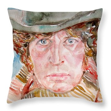 Tom Baker Doctor Who Watercolor Portrait Throw Pillow by Fabrizio Cassetta