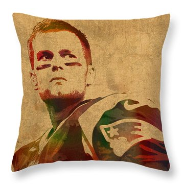 Tom Brady New England Patriots Quarterback Watercolor Portrait On Distressed Worn Canvas Throw Pillow