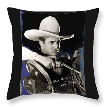Tom Mix Portrait Melbourne Spurr Hollywood California C.1925-2013 Throw Pillow by David Lee Guss