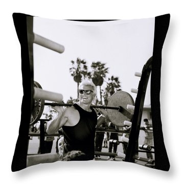 Tom Platz In Los Angeles Throw Pillow by Shaun Higson