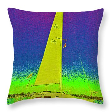Tom Ray's Sailboat Throw Pillow by First Star Art