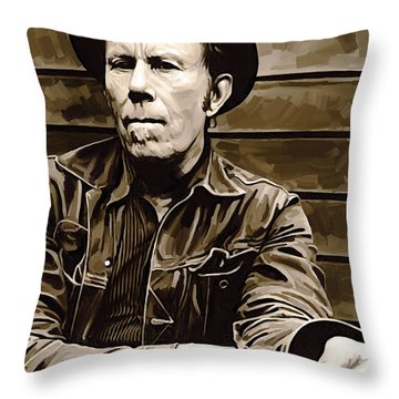 Tom Waits Artwork 2 Throw Pillow by Sheraz A