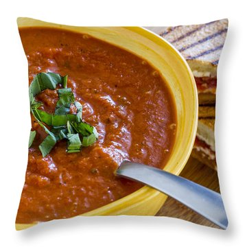Tomato And Basil Soup With Grilled Cheese Panini Throw Pillow