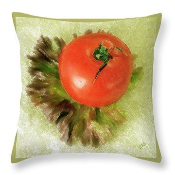 Tomato And Lettuce Throw Pillow by Ben and Raisa Gertsberg