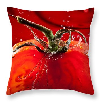 Tomato Freshsplash 2 Throw Pillow by Steve Gadomski