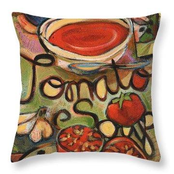 Tomato Soup Recipe Throw Pillow by Jen Norton
