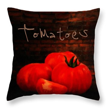 Tomatoes II Throw Pillow by Lourry Legarde
