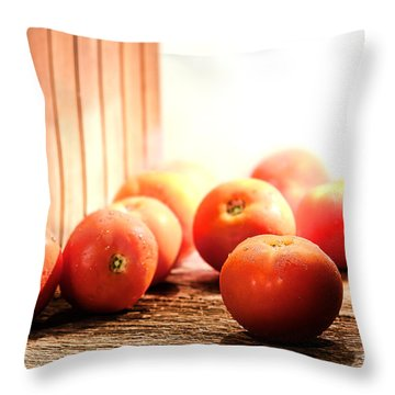 Tomatoes In An Old Barn Throw Pillow by Olivier Le Queinec