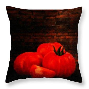 Tomatoes Throw Pillow by Lourry Legarde