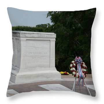 Tomb Of The Unknown Soldier Throw Pillow by Carol Ailles