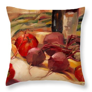 Throw Pillow featuring the painting Tom's Bounty by Michelle Abrams