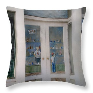 Throw Pillow featuring the photograph Tom's Drug Company by Phil Mancuso