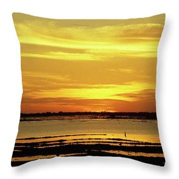 Tonle Sap Sunrise 02 Throw Pillow