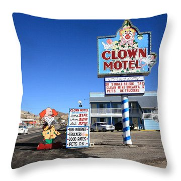 Tonopah Nevada - Clown Motel Throw Pillow by Frank Romeo