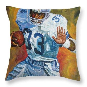 Tony Dorsett - Dallas Cowboys  Throw Pillow by Mike Rabe