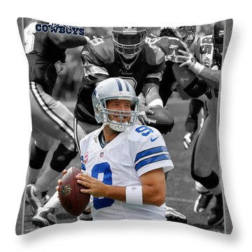 Tony Romo Cowboys Throw Pillow by Joe Hamilton