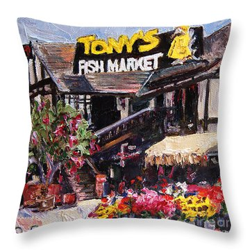 Tony's On The Redondo Pier Throw Pillow by Jennifer Beaudet