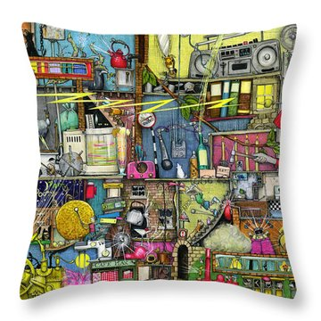 Too Loud Throw Pillow by Colin Thompson