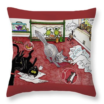 Throw Pillow featuring the drawing Too Many Pets by Shawna Rowe