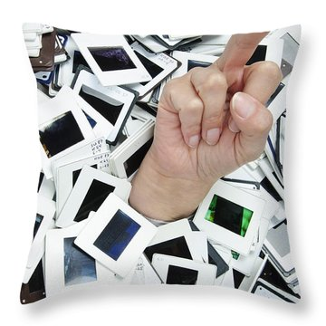 Too Many Slides - Hand Giving The Middle Finger Throw Pillow by Matthias Hauser