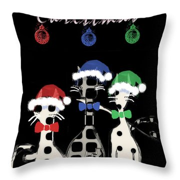 Throw Pillow featuring the digital art Toon Cats Christmas by Arline Wagner