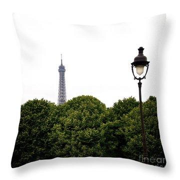 Top Of The Eiffel Tower And Street Lamp. Paris.france. Throw Pillow by Bernard Jaubert